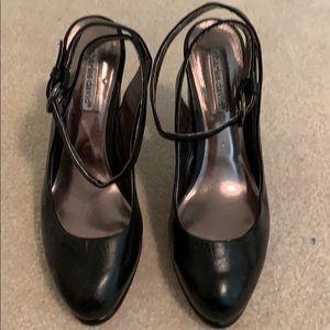 Charles David black leather heels